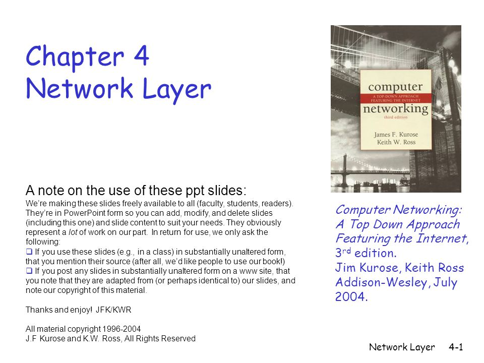Network Layer4-1 Chapter 4 Network Layer Computer Networking: A Top Down Approach Featuring the Internet, 3 rd edition.