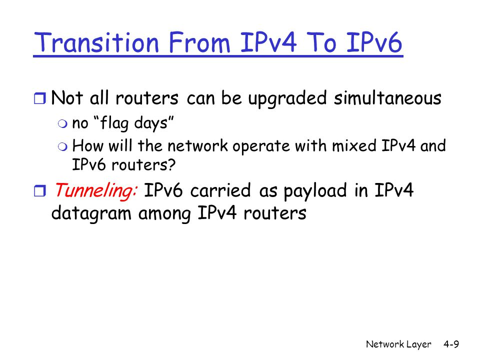 Network Layer4-9 Transition From IPv4 To IPv6 r Not all routers can be upgraded simultaneous m no flag days m How will the network operate with mixed IPv4 and IPv6 routers.