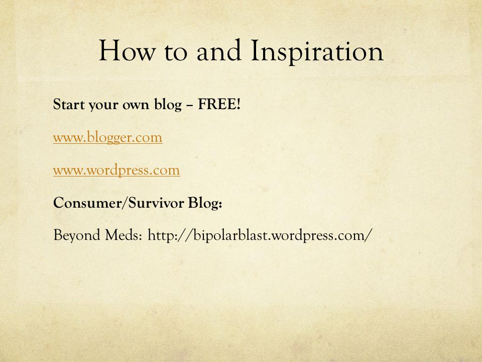 How to and Inspiration Start your own blog – FREE.