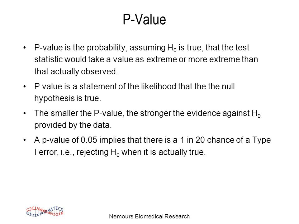 Nemours Biomedical Research P-Value P-value is the probability, assuming H 0 is true, that the test statistic would take a value as extreme or more extreme than that actually observed.