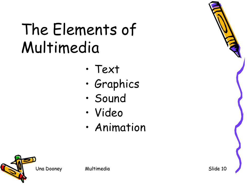 Una DooneyMultimediaSlide 10 The Elements of Multimedia Text Graphics Sound Video Animation