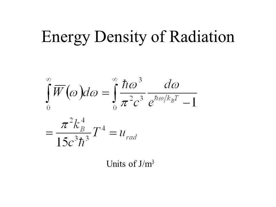 Energy Density of Radiation Units of J/m 3