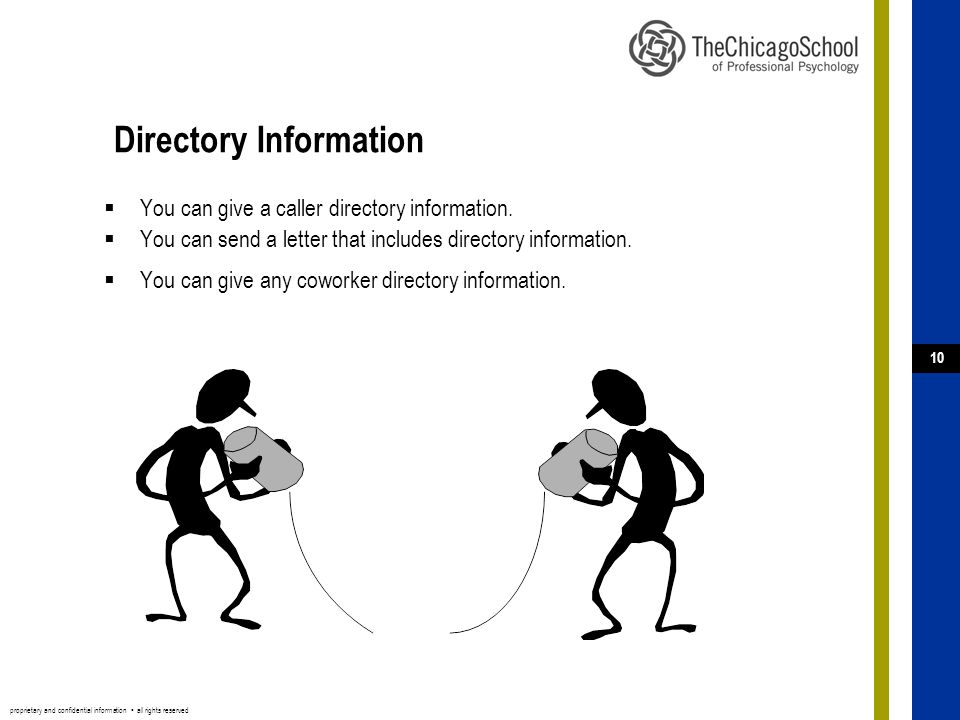 proprietary and confidential information ▪ all rights reserved 10 Directory Information  You can give a caller directory information.