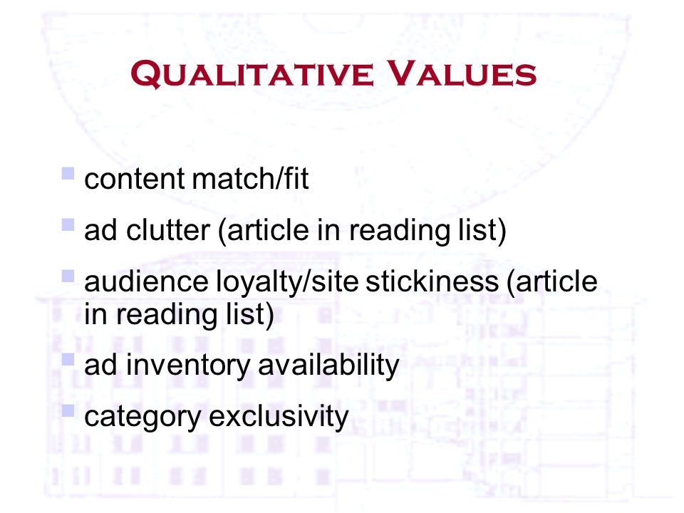 Qualitative Values  content match/fit  ad clutter (article in reading list)  audience loyalty/site stickiness (article in reading list)  ad inventory availability  category exclusivity