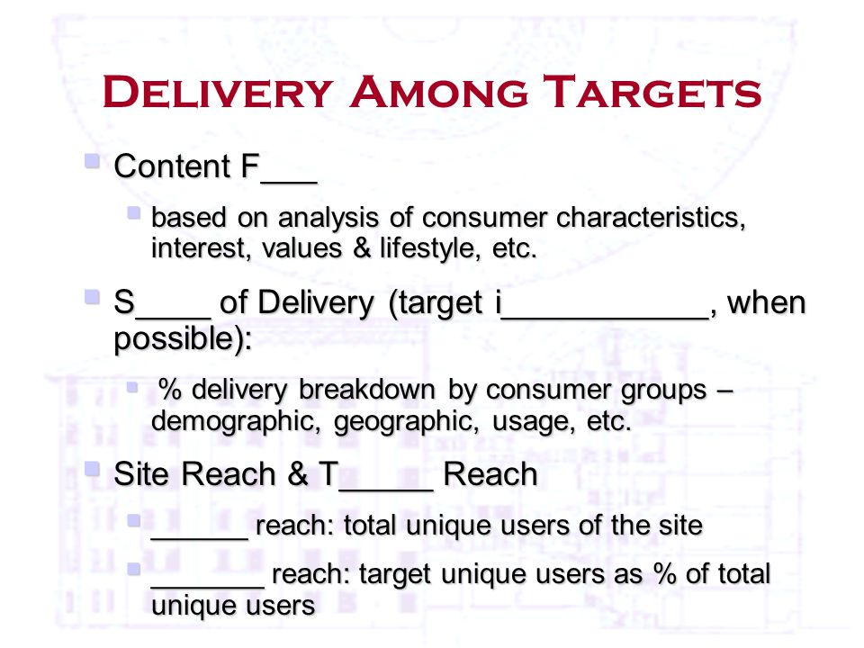 Delivery Among Targets  Content F___  based on analysis of consumer characteristics, interest, values & lifestyle, etc.