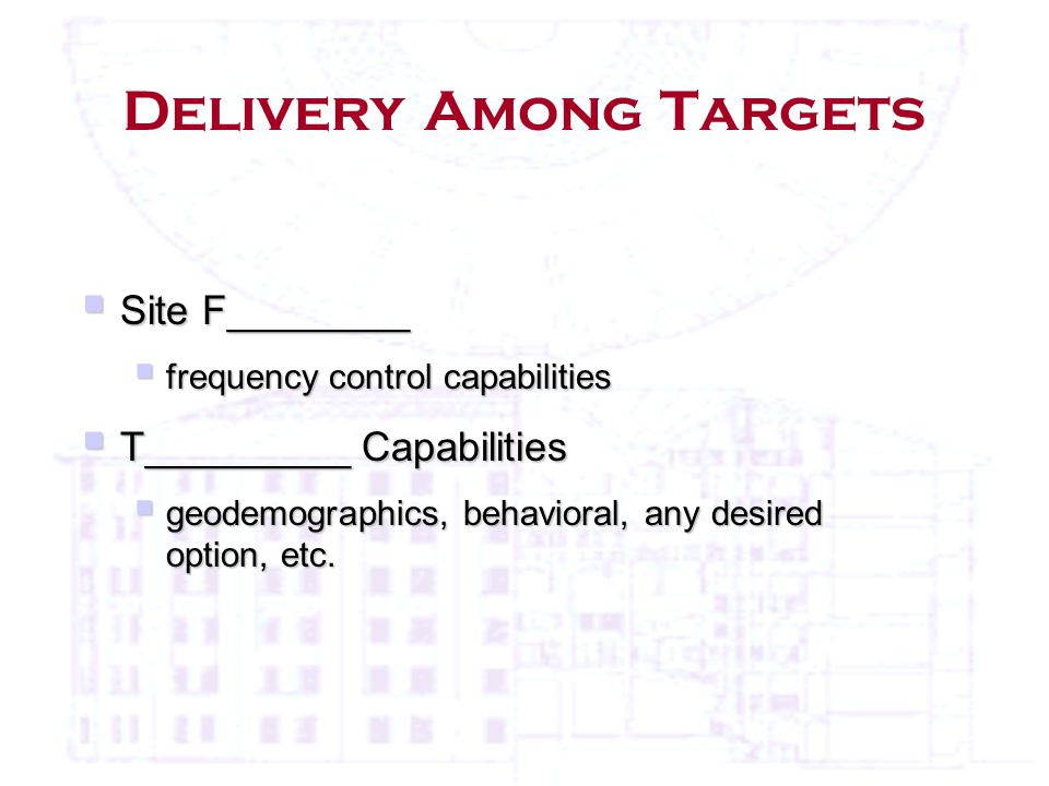 Delivery Among Targets  Site F________  frequency control capabilities  T_________ Capabilities  geodemographics, behavioral, any desired option, etc.