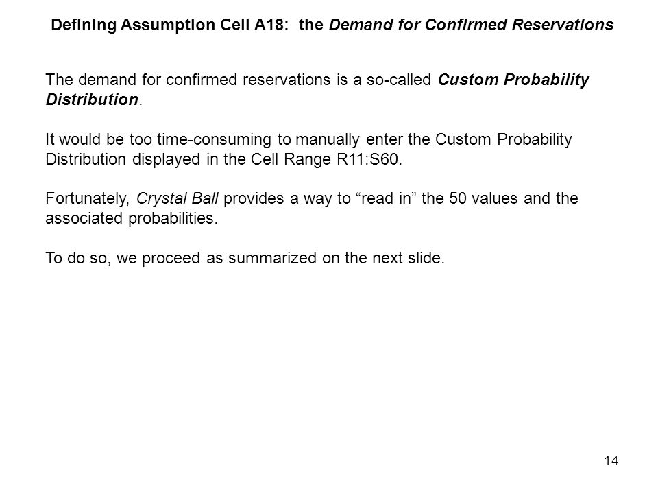 14 Defining Assumption Cell A18: the Demand for Confirmed Reservations The demand for confirmed reservations is a so-called Custom Probability Distribution.