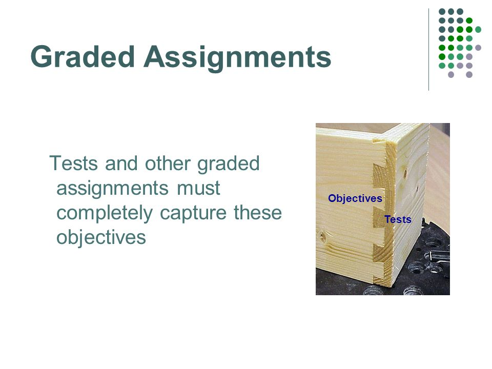 Graded Assignments Tests and other graded assignments must completely capture these objectives Tests Objectives