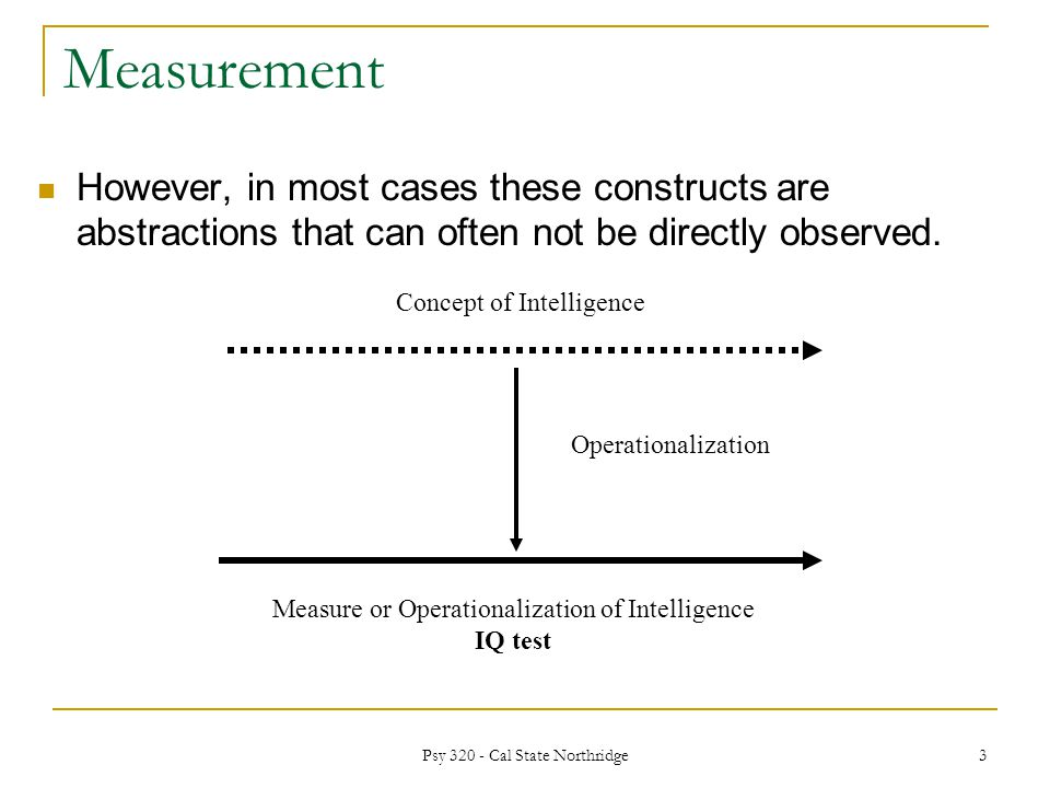 Measurement However, in most cases these constructs are abstractions that can often not be directly observed.