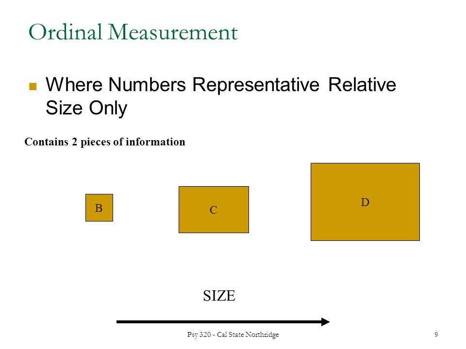 Ordinal Measurement Where Numbers Representative Relative Size Only B C D SIZE Contains 2 pieces of information 9 Psy Cal State Northridge