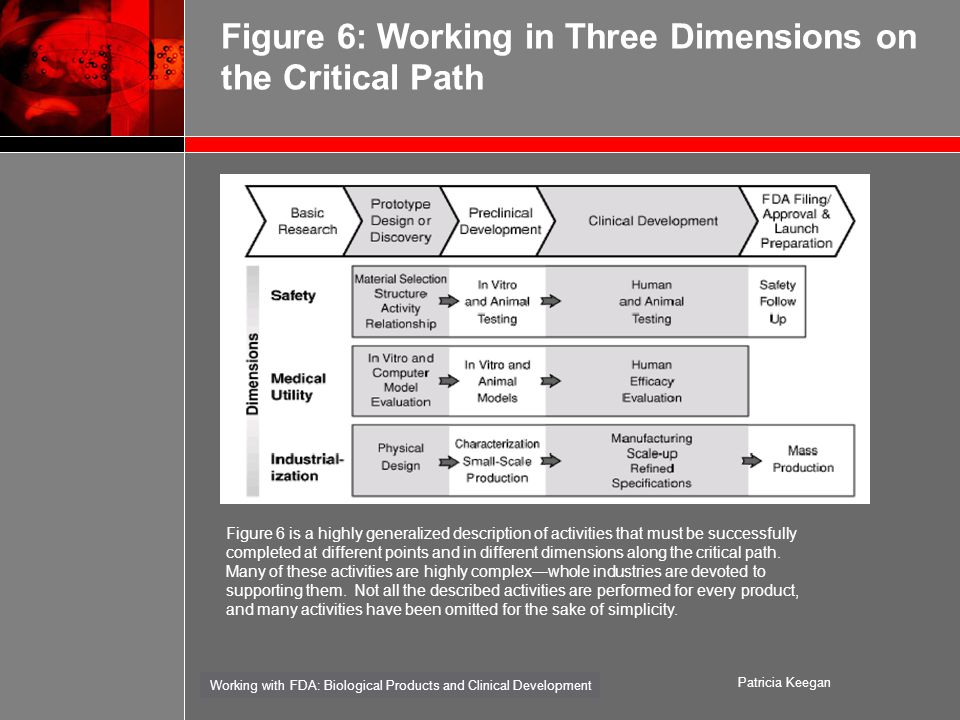 Working with FDA: Biological Products and Clinical Development Patricia Keegan Figure 6: Working in Three Dimensions on the Critical Path Figure 6 is a highly generalized description of activities that must be successfully completed at different points and in different dimensions along the critical path.