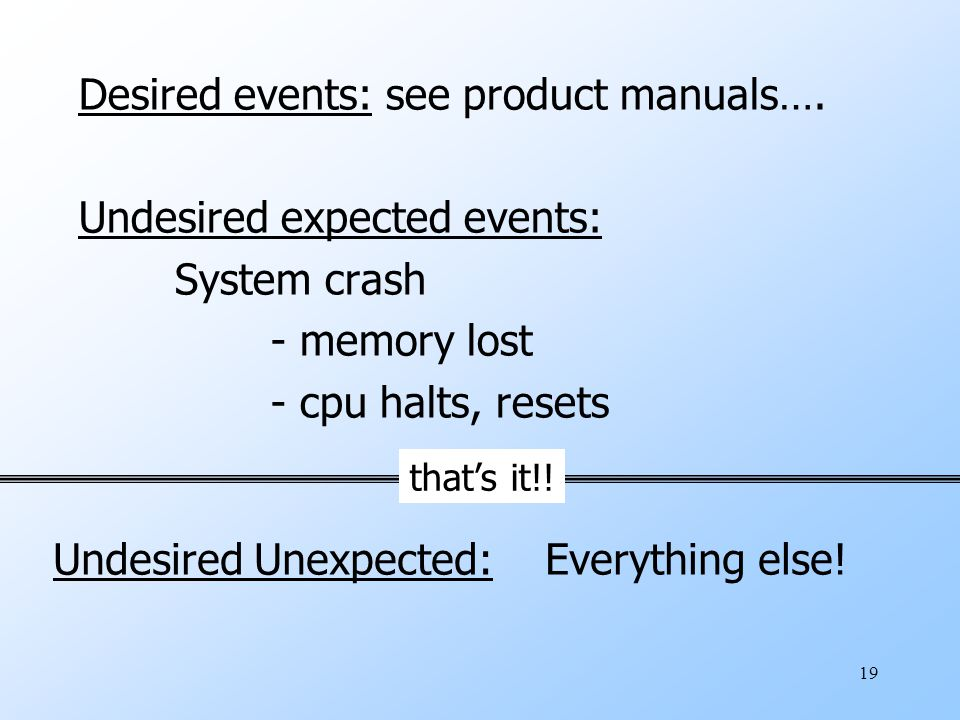 19 Desired events: see product manuals….
