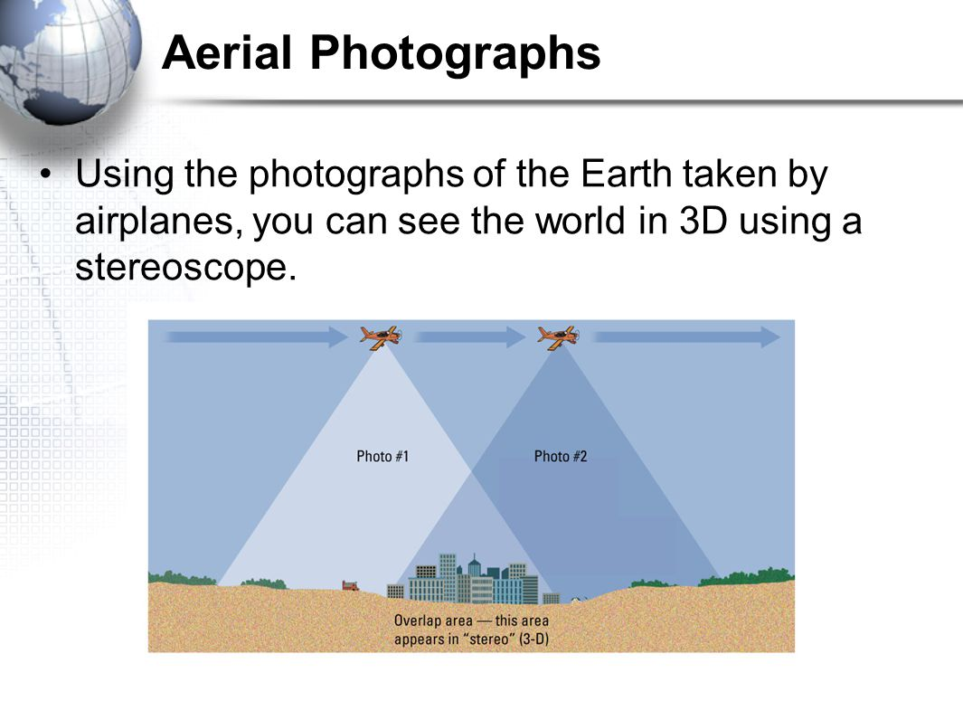 Aerial Photographs Using the photographs of the Earth taken by airplanes, you can see the world in 3D using a stereoscope.