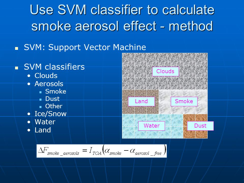 Use SVM classifier to calculate smoke aerosol effect - method SVM: Support Vector Machine SVM classifiers Clouds Aerosols Smoke Dust Other Ice/Snow Water Land Clouds Land Water Smoke Dust