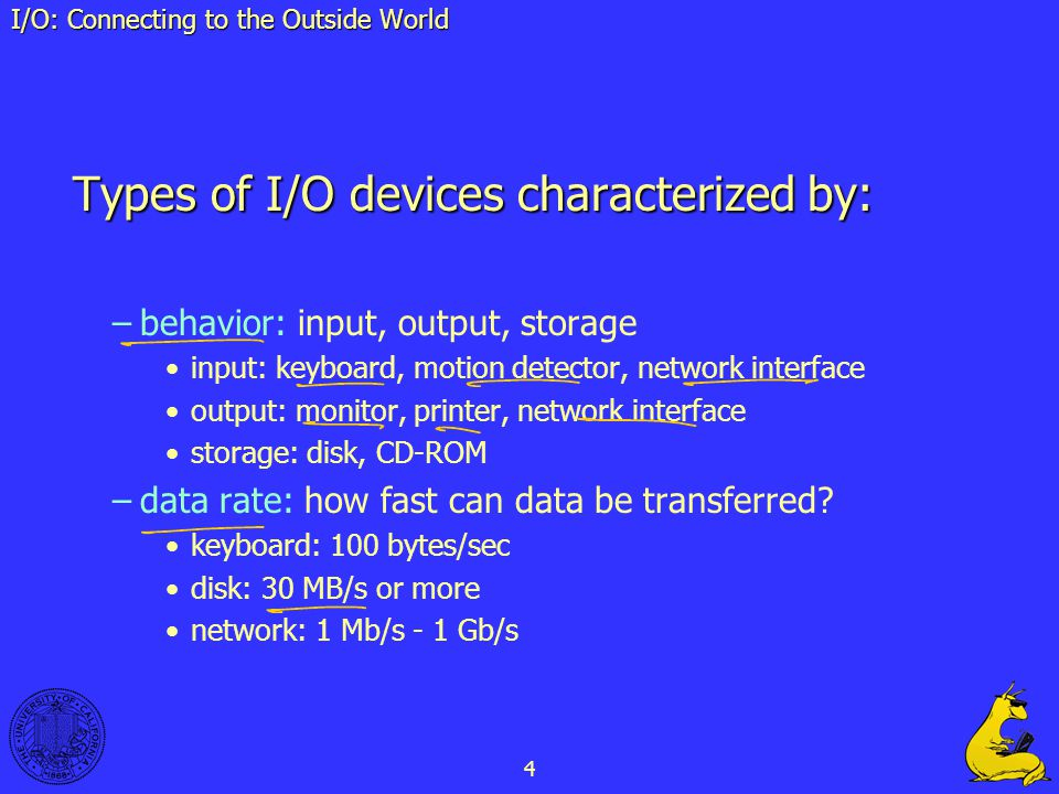 4 I O Connecting To The Outside World Types Of Devices Characterized By Behavior Input Output Storage Keyboard Motion Detector