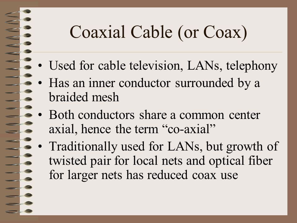 Coaxial Cable (or Coax) Used for cable television, LANs, telephony Has an inner conductor surrounded by a braided mesh Both conductors share a common center axial, hence the term co-axial Traditionally used for LANs, but growth of twisted pair for local nets and optical fiber for larger nets has reduced coax use