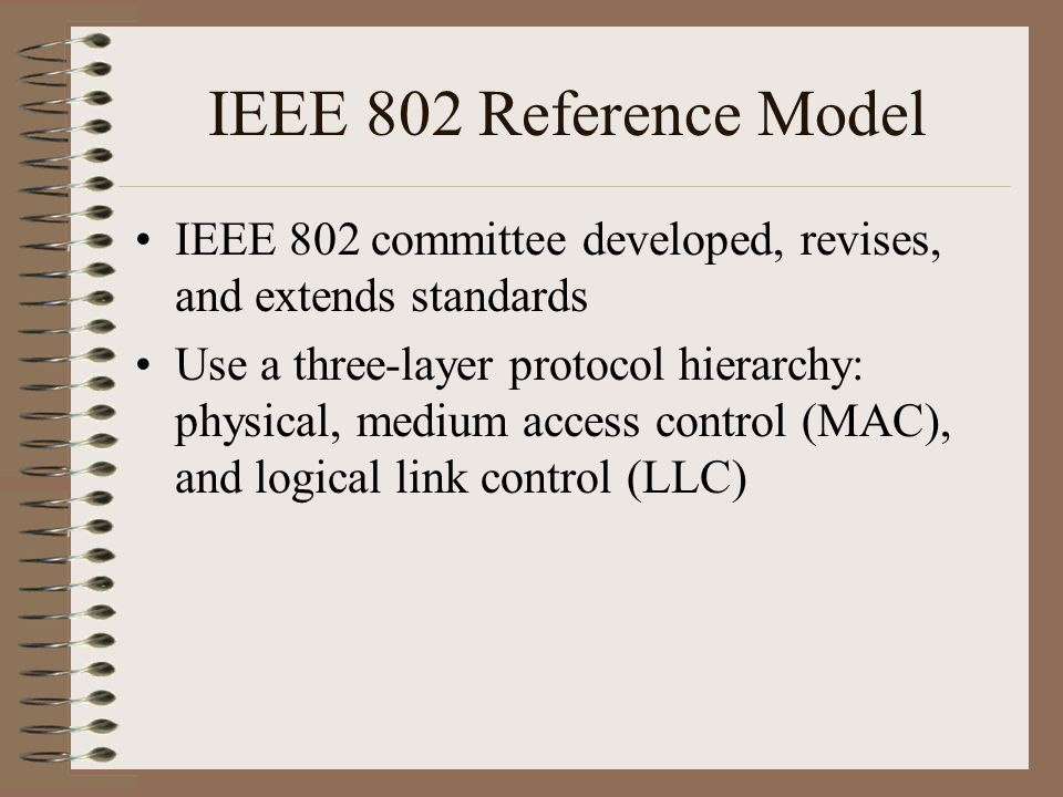 IEEE 802 Reference Model IEEE 802 committee developed, revises, and extends standards Use a three-layer protocol hierarchy: physical, medium access control (MAC), and logical link control (LLC)