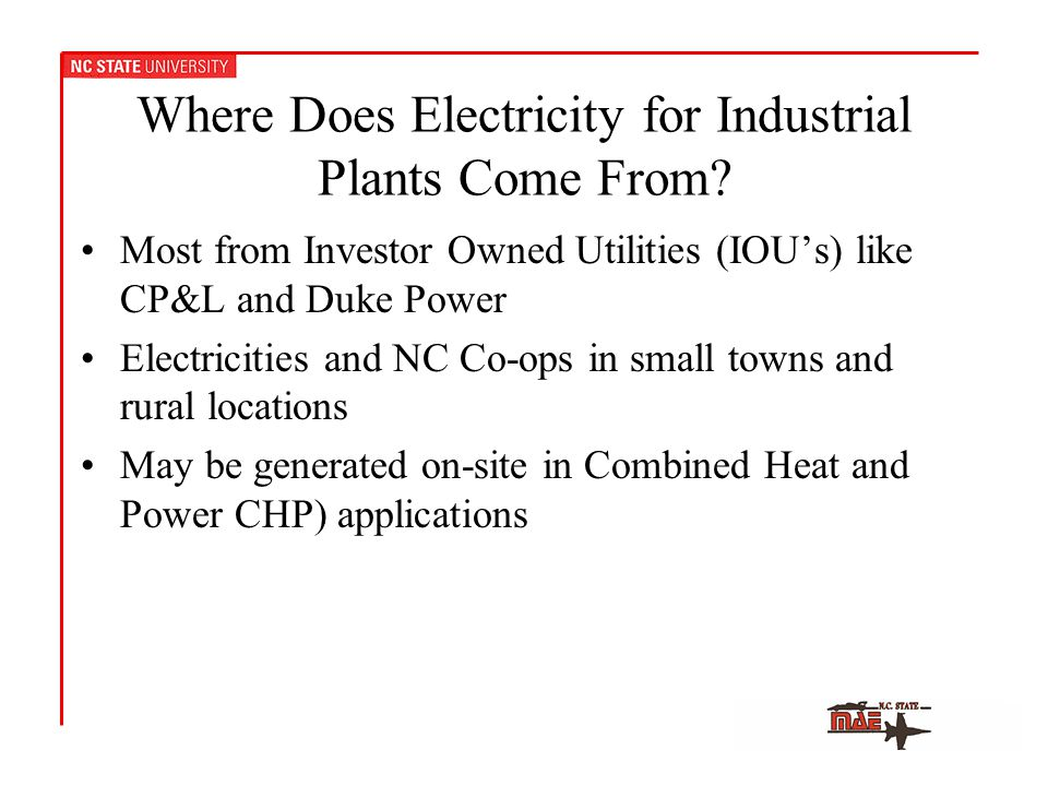 Where Does Electricity for Industrial Plants Come From.