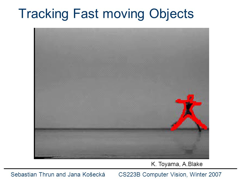 Sebastian Thrun and Jana Košecká CS223B Computer Vision, Winter 2007 Another Example Mike Isard and Andrew Blake