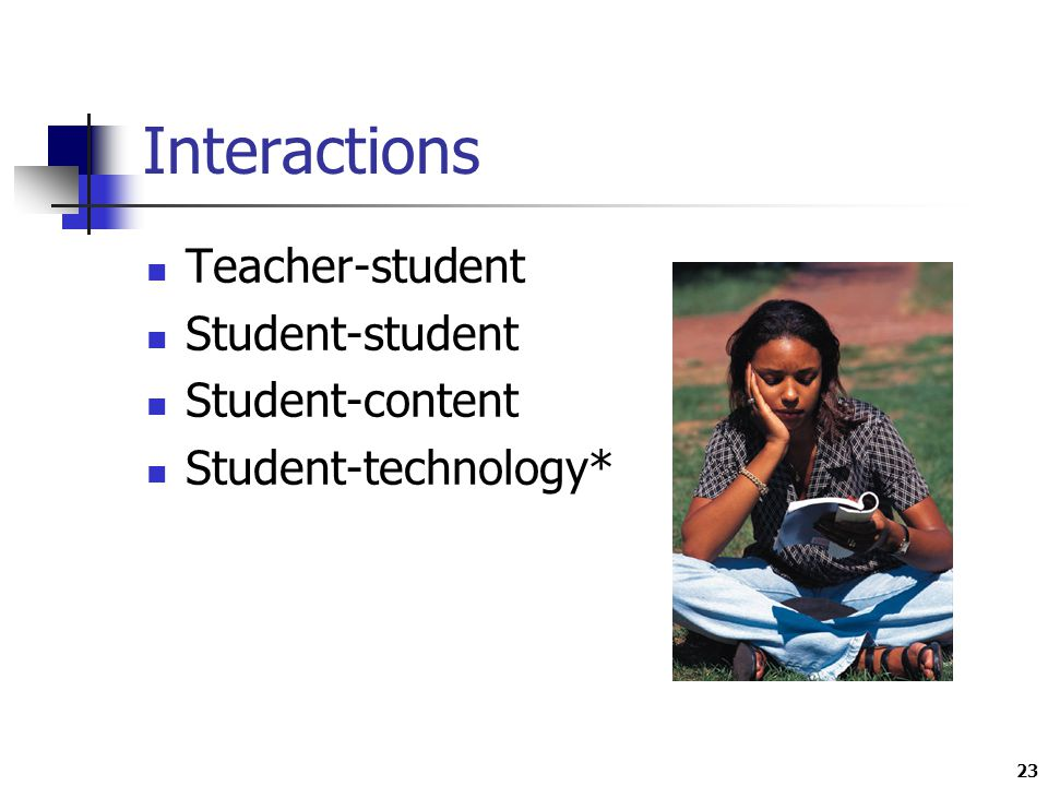 23 Interactions Teacher-student Student-student Student-content Student-technology*
