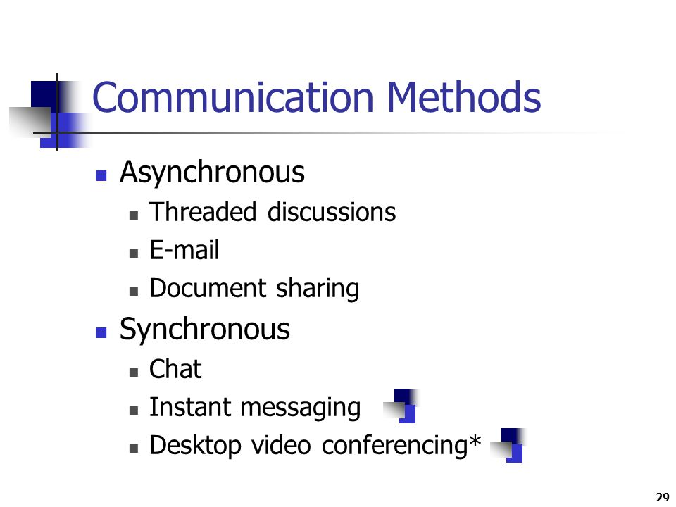 29 Communication Methods Asynchronous Threaded discussions  Document sharing Synchronous Chat Instant messaging Desktop video conferencing*
