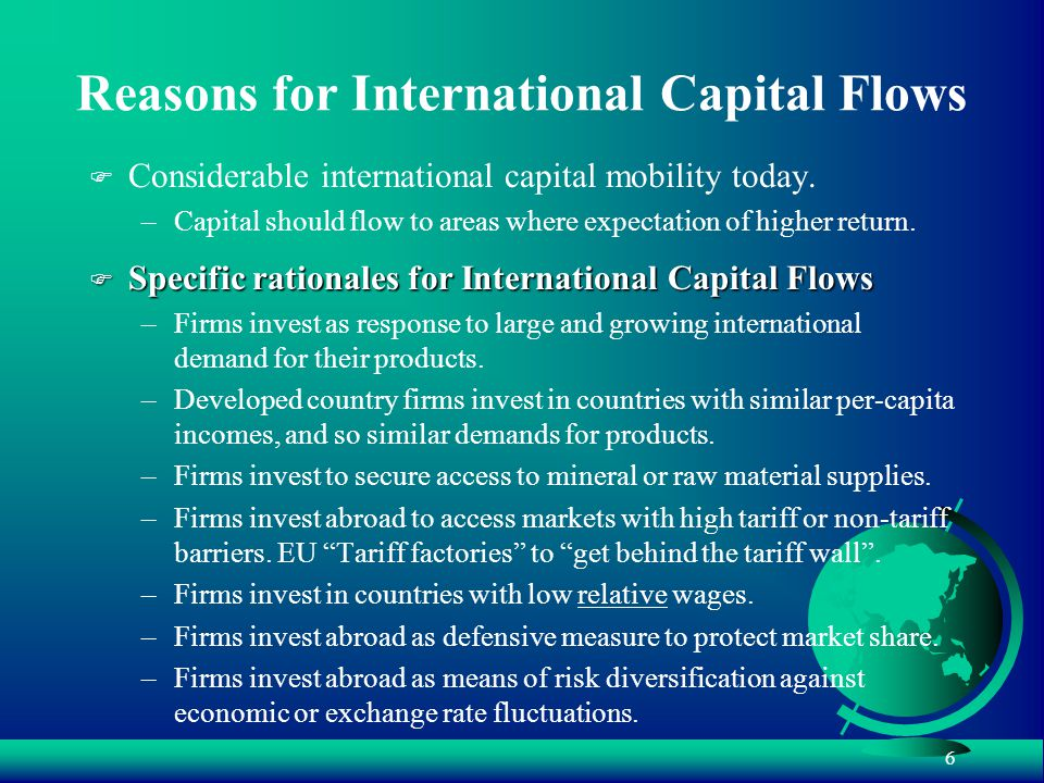 6 Reasons for International Capital Flows F Considerable international capital mobility today.