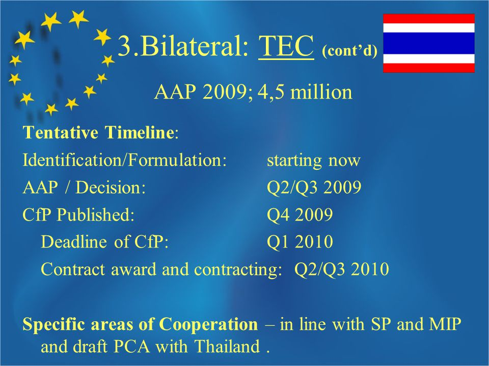 3.Bilateral: TEC (cont'd) AAP 2009; 4,5 million Tentative Timeline: Identification/Formulation: starting now AAP / Decision: Q2/Q CfP Published: Q Deadline of CfP: Q Contract award and contracting: Q2/Q Specific areas of Cooperation – in line with SP and MIP and draft PCA with Thailand.
