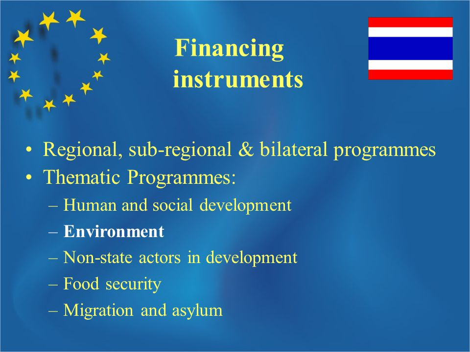 Financing instruments Regional, sub-regional & bilateral programmes Thematic Programmes: –Human and social development –Environment –Non-state actors in development –Food security –Migration and asylum