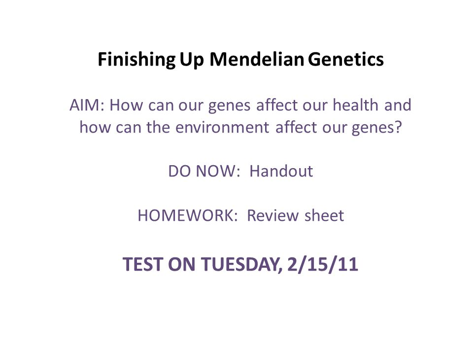 Finishing Up Mendelian Genetics Aim How Can Our Genes Affect Our