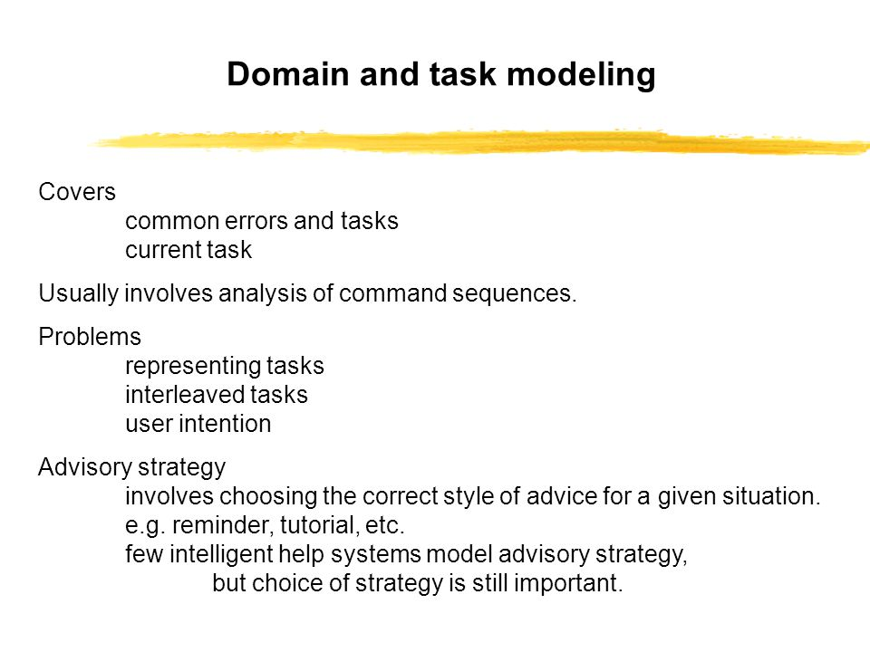 Covers common errors and tasks current task Usually involves analysis of command sequences.