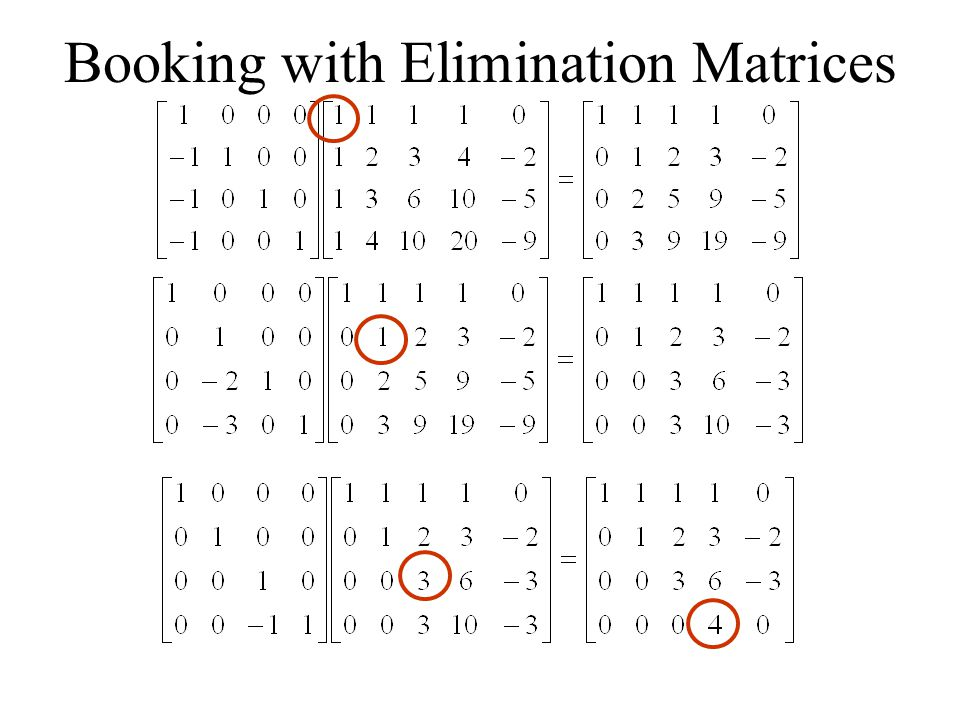 Booking with Elimination Matrices