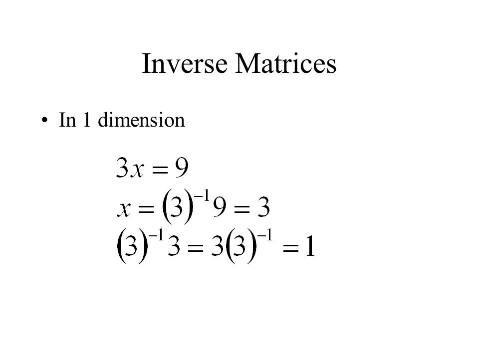 Inverse Matrices In 1 dimension