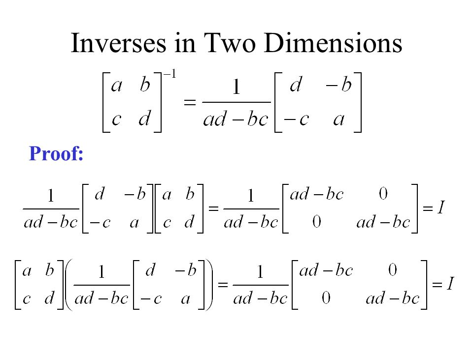 Inverses in Two Dimensions Proof: