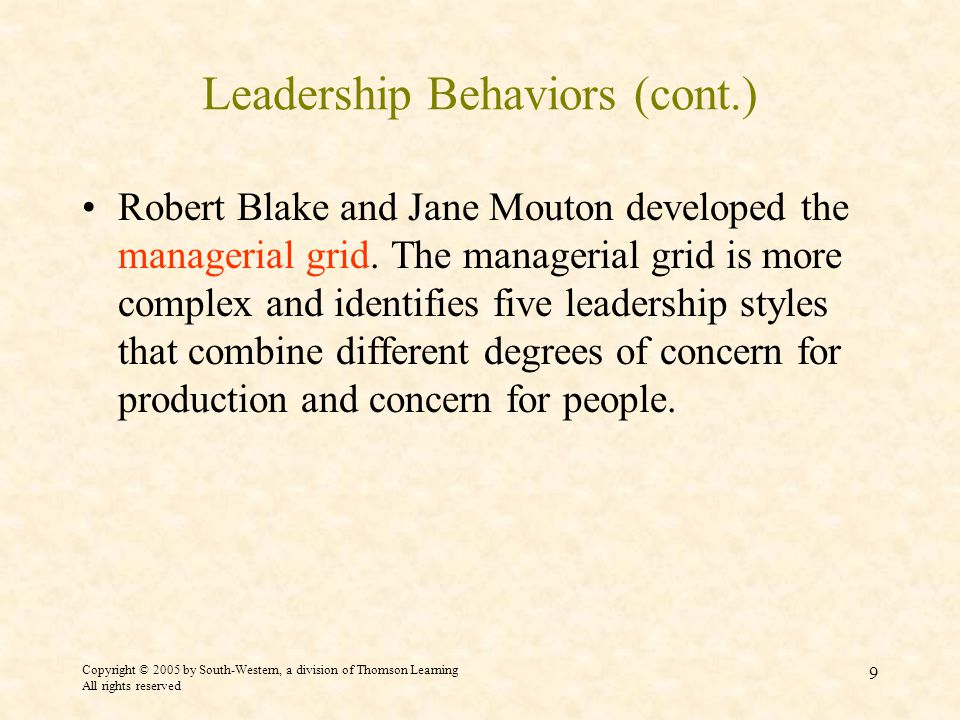 Copyright © 2005 by South-Western, a division of Thomson Learning All rights reserved 9 Leadership Behaviors (cont.) Robert Blake and Jane Mouton developed the managerial grid.