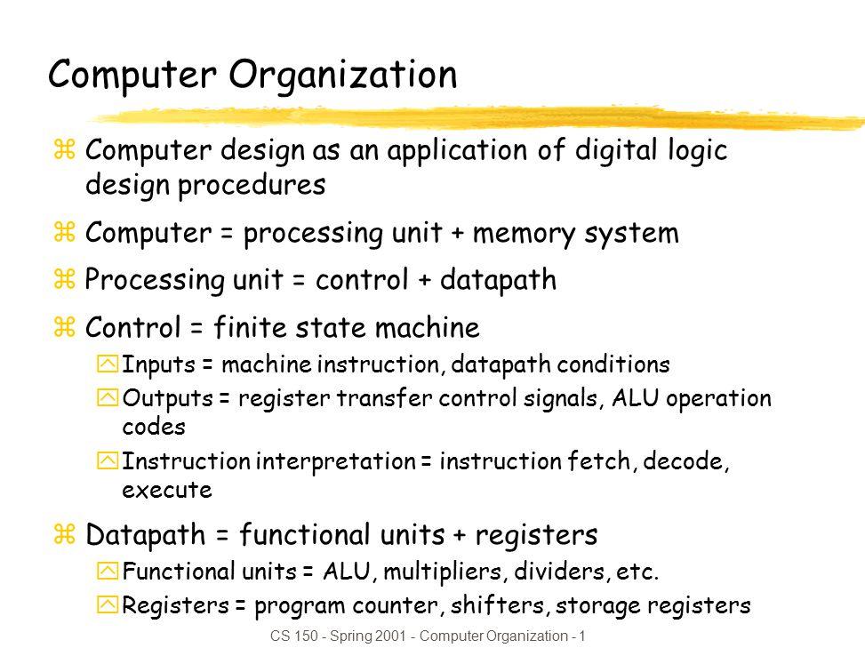 Cs Spring Computer Organization 1 Computer Organization Zcomputer Design As An Application Of Digital Logic Design Procedures Zcomputer Ppt Download