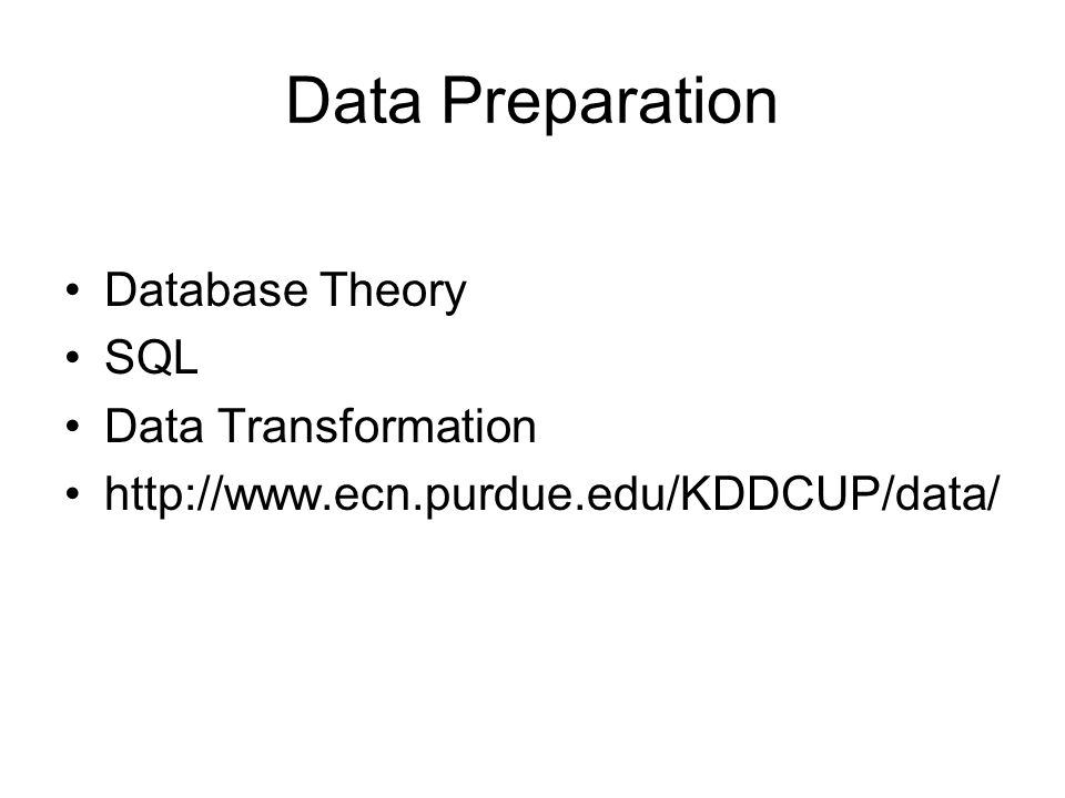 Data Preparation Database Theory SQL Data Transformation