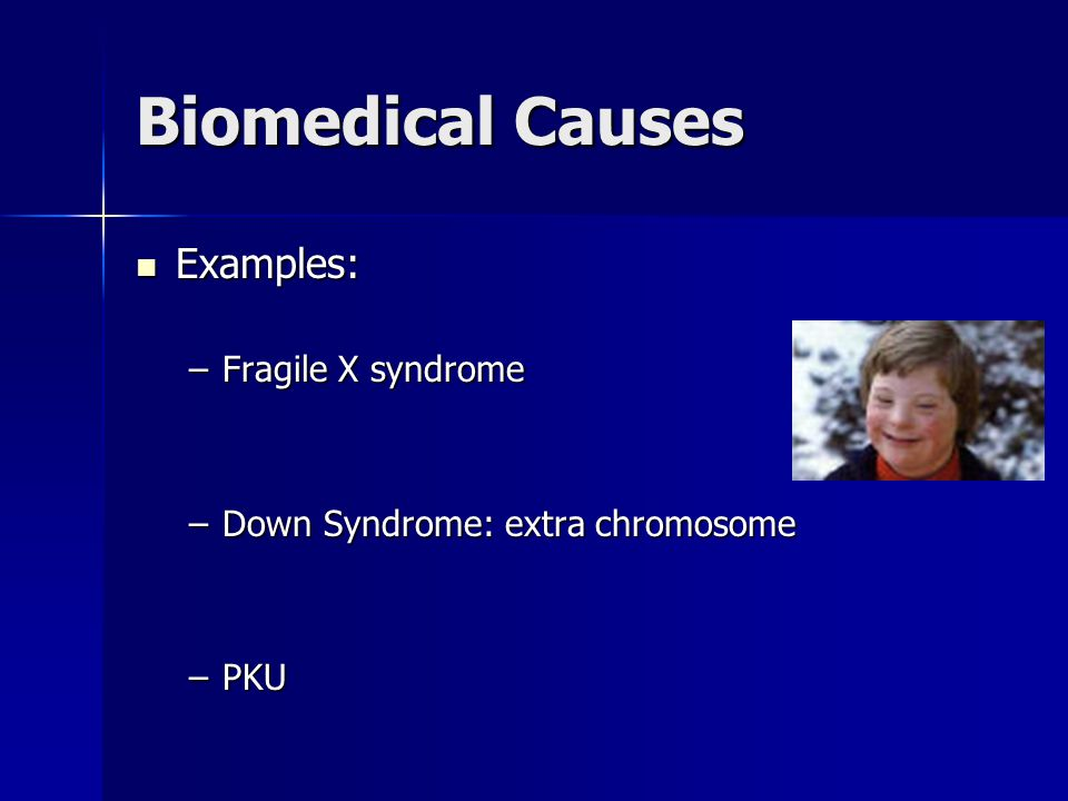 Biomedical Causes Examples: Examples: –Fragile X syndrome –Down Syndrome: extra chromosome –PKU