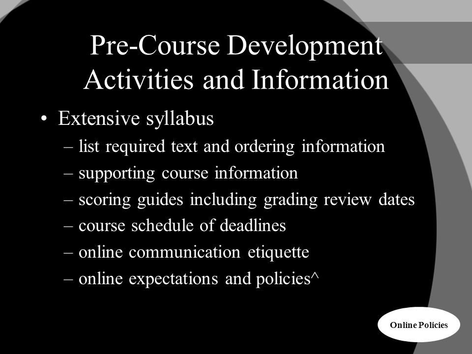 Pre-Course Development Activities and Information Extensive syllabus –list required text and ordering information –supporting course information –scoring guides including grading review dates –course schedule of deadlines –online communication etiquette –online expectations and policies^ Online Policies