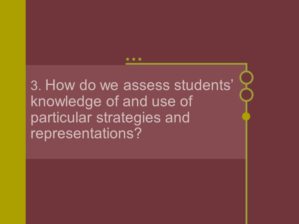 3. How do we assess students' knowledge of and use of particular strategies and representations