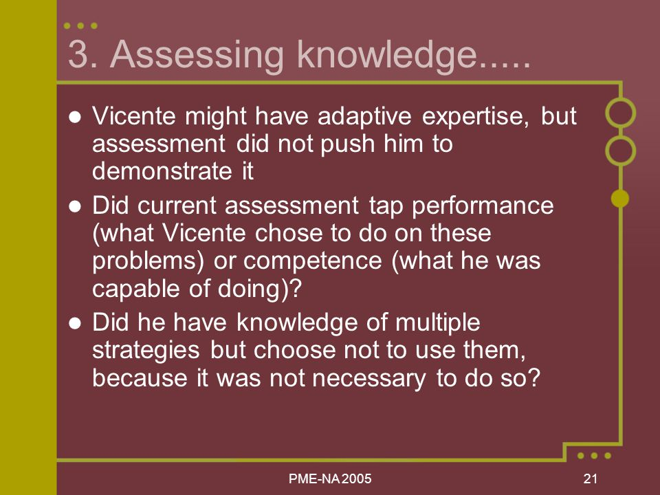 PME-NA Assessing knowledge.....