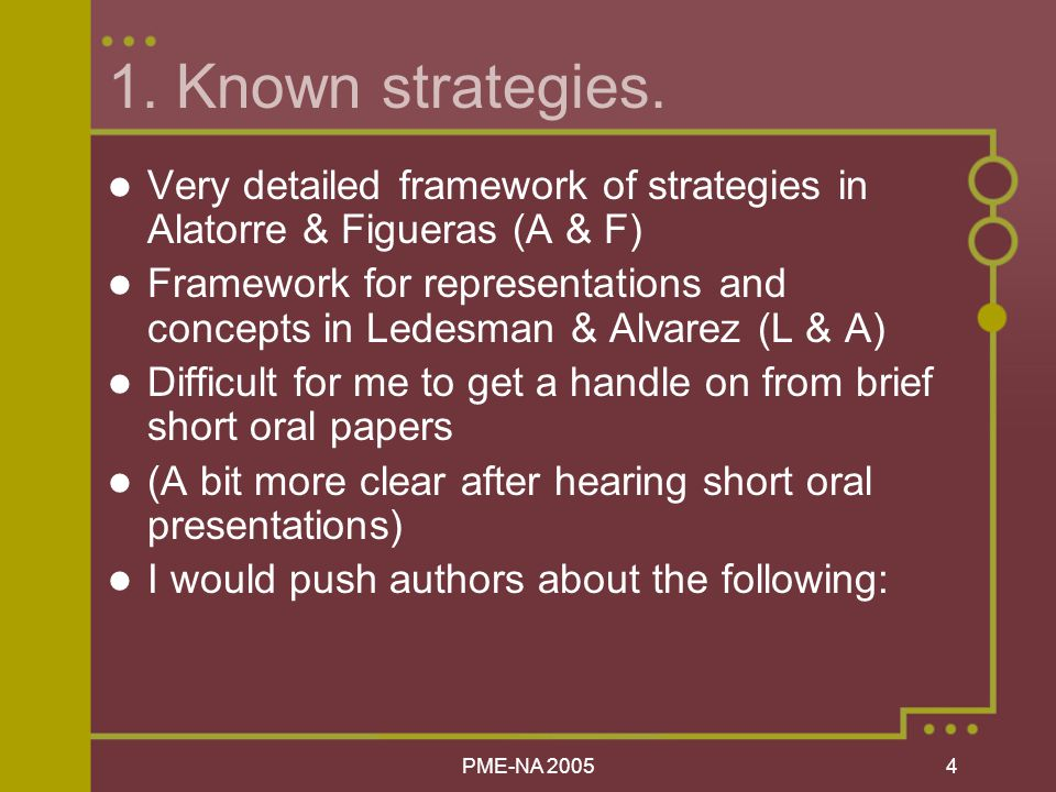 PME-NA Known strategies.