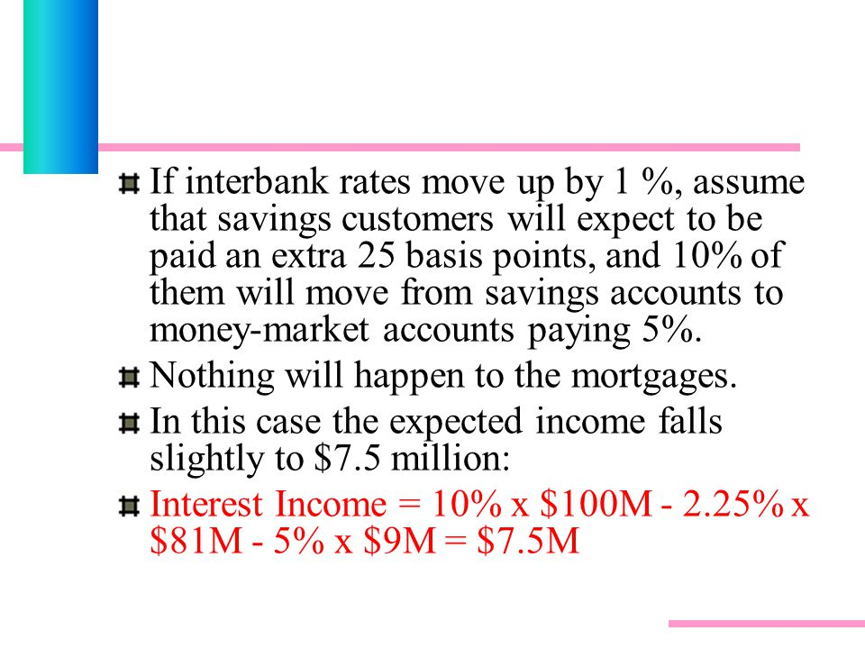 If interbank rates move up by 1 %, assume that savings customers will expect to be paid an extra 25 basis points, and 10% of them will move from savings accounts to money-market accounts paying 5%.