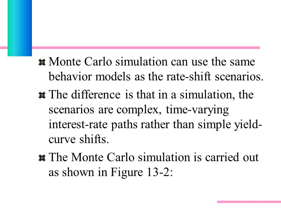 Monte Carlo simulation can use the same behavior models as the rate-shift scenarios.
