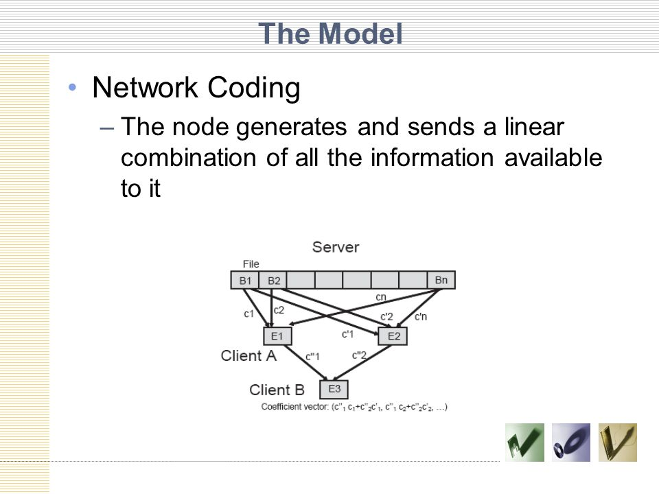 The Model Network Coding –The node generates and sends a linear combination of all the information available to it