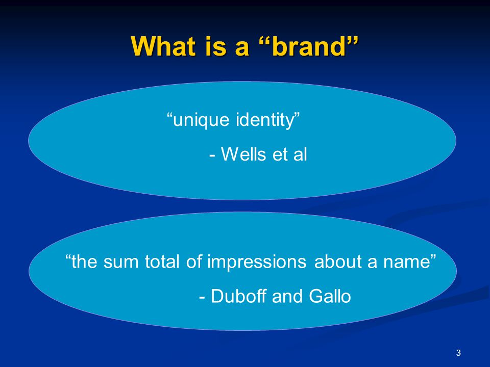 3 What is a brand unique identity - Wells et al the sum total of impressions about a name - Duboff and Gallo