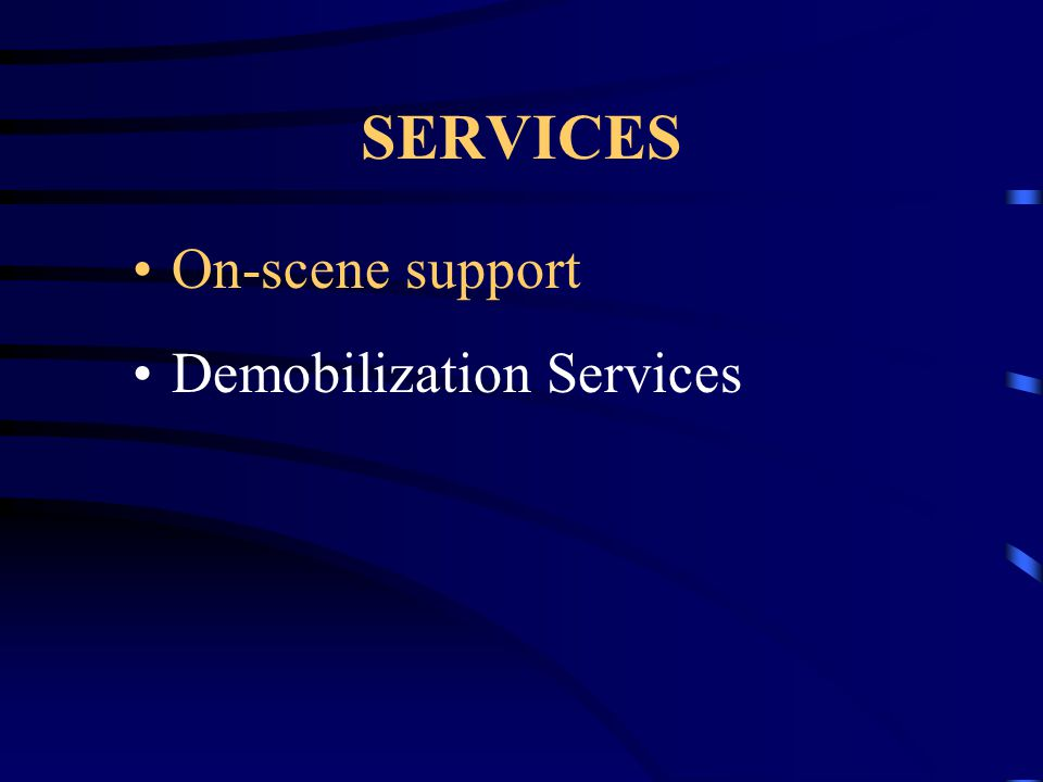 ON SCENE SUPPORT One-on-one support for Emergency Personnel at the scene Provide advice and support incident commanders at the scene on topics of stress management Assist the victims and family members until other help arrives