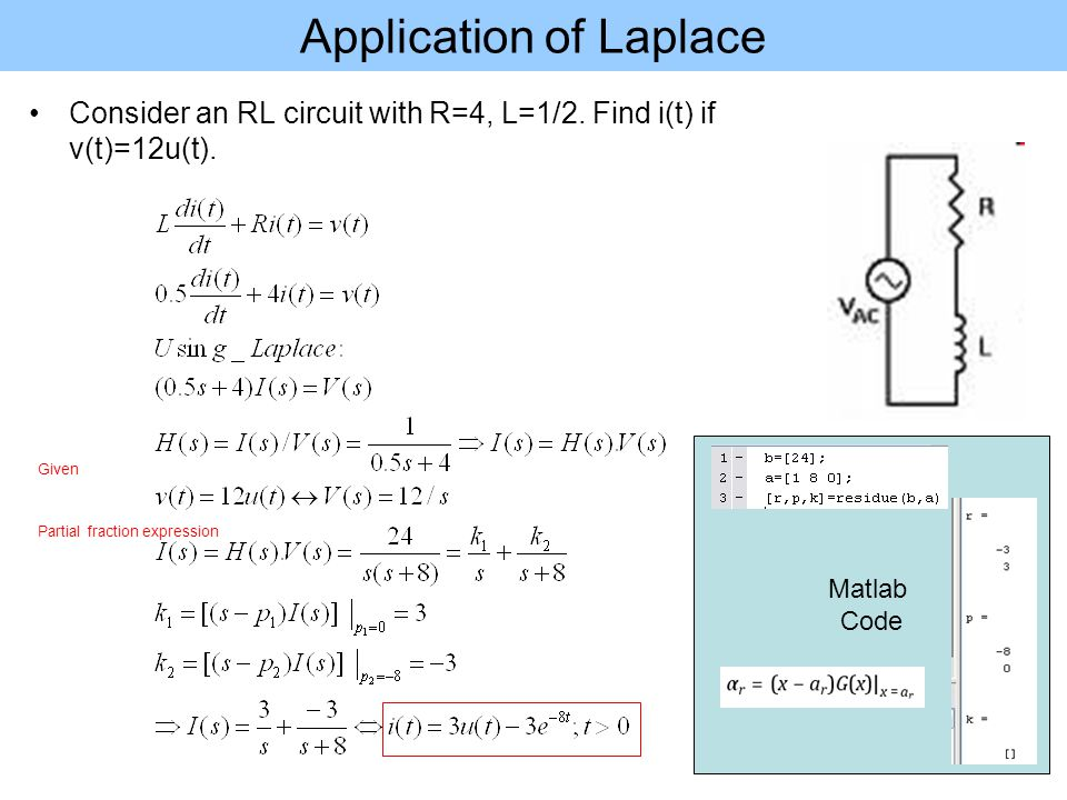 Matlab Code Application of Laplace Consider an RL circuit with R=4, L=1/2.
