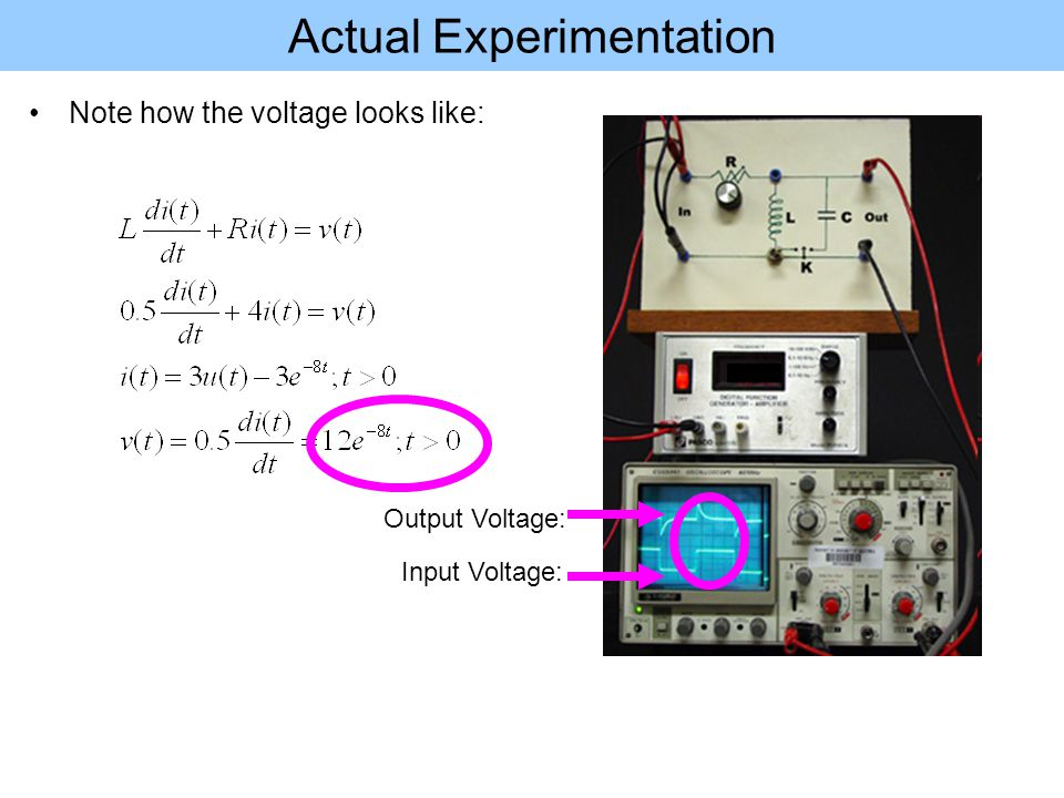 Actual Experimentation Note how the voltage looks like: Input Voltage: Output Voltage: