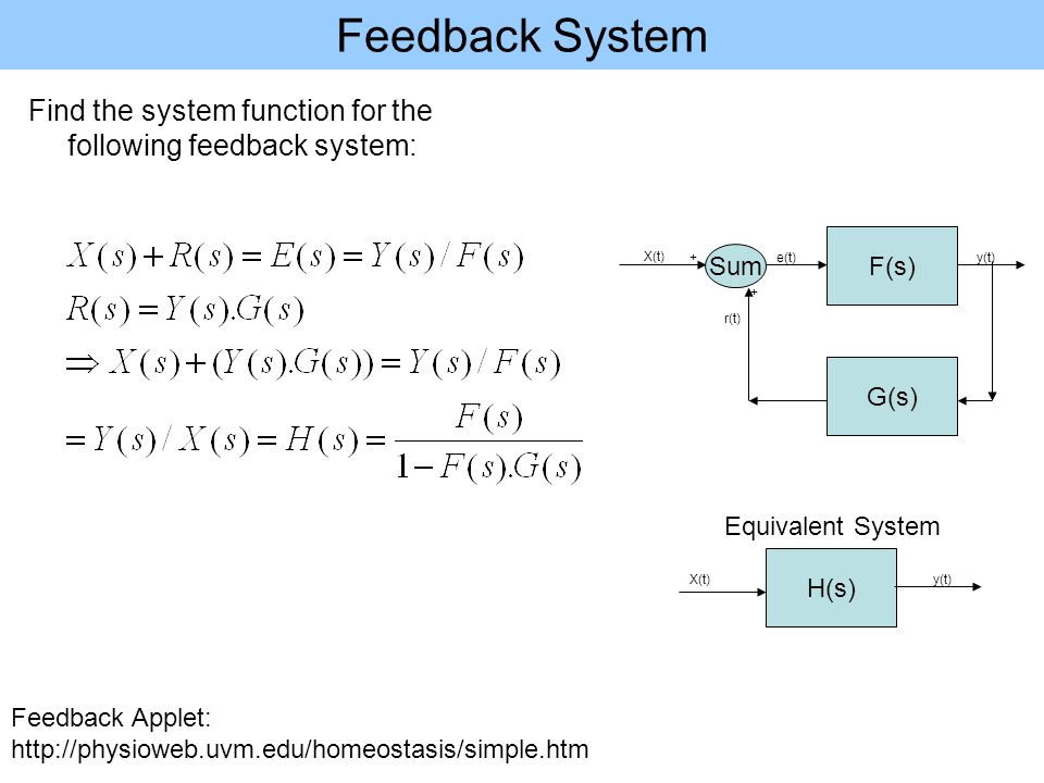 Feedback System Find the system function for the following feedback system: G(s) Sum F(s) X(t) r(t) e(t)y(t) + + H(s) X(t)y(t) Equivalent System Feedback Applet: