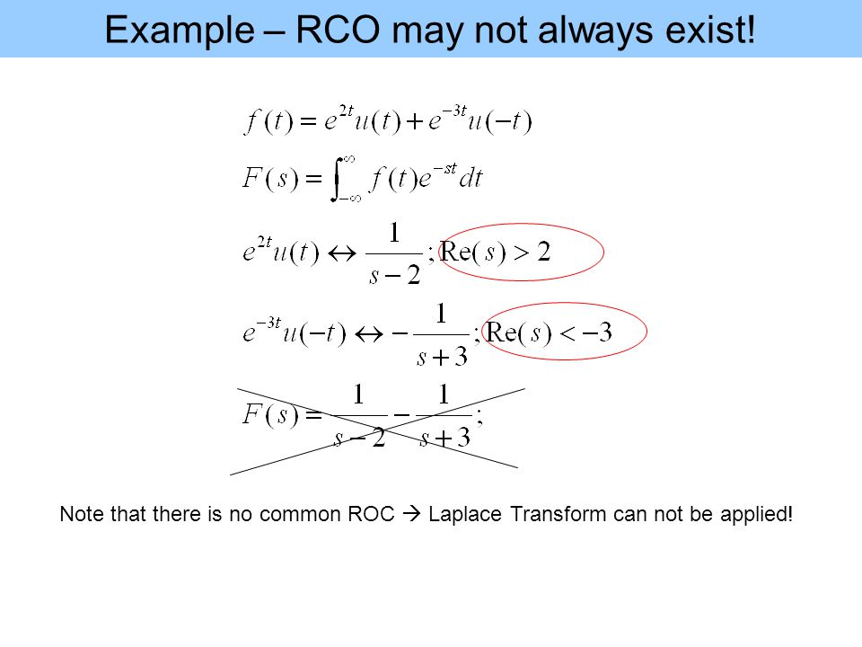 Example – RCO may not always exist.
